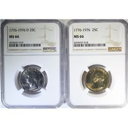 1976 & 1976-D WASHINGTON QUARTERS, NGC MS-66