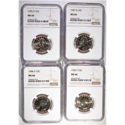 1985P, 87-D, 85-D & 88-D WASHINGTON QUARTERS NGC