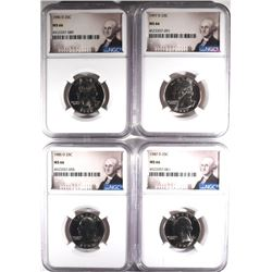4 WASHINGTON QUARTERS NGC MS-66