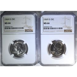 2-1969-D WASHINGTON QUARTERS, NGC MS-66