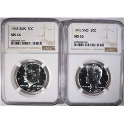2- 1965 SMS KENNEDY HALF DOLLARS NGC MS-66