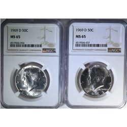 2-1969-D KENNEDY HALF DOLLARS, NGC MS-65