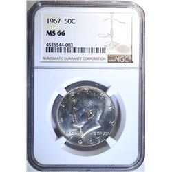 1967 KENNEDY HALF DOLLAR, NGC MS-66 RARE