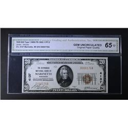 1929 $20 TY1 NATIONAL CURRENCY