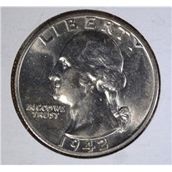 1942-S WASHINGTON QUARTER CH.BU