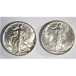 (2) 1942 WALKING LIBERTY HALF DOLLARS CHOICE BU