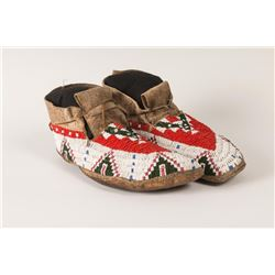 "Sioux Beaded Woman's Moccasins, 10"" long"
