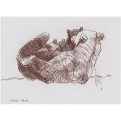 Bob Kuhn, two conte drawings