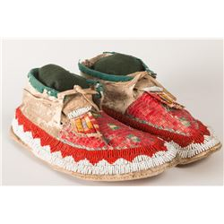 "Sioux Beaded & Quilled Man's Moccasins, 11"" long"