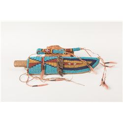Sioux Beaded Knife Case and Matching Awl Case