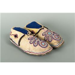 "Kiowa Beaded Woman's Moccasins, 9.25"" long"