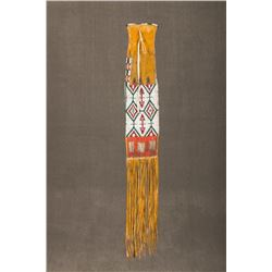"Southern Plains Beaded $ Quilled Pipebag, 44"" overall"