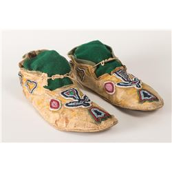 "Kiowa Beaded Man's Moccasins, 9.5"" long"