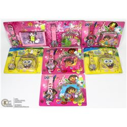 LOT OF 7 KIDS WATCH AND WALLET SETS