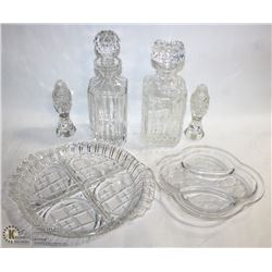 FLAT OF CRYSTAL DECANTERS AND OTHER ITEMS