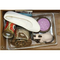 BOX OF ASSORTED KNICK KNACKS & HARDWARE.