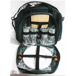 PICNIC SET FOR 4, INCL COOLER CARRY BAG, DISHES
