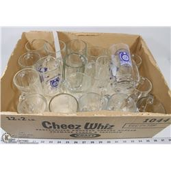 9) BOX OF MUGS - SOME CLEAR GLASS, SOME WITH