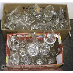 LARGE LOT OF BAR GLASSWARE.