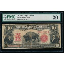 1901 $10 Legal Tender Bison Note PMG 20