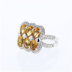 14KT White Gold 2.62ctw Citrine and Diamond Ring