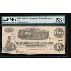 1862-63 $100 Confederate States of America Note PMG 53EPQ