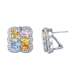 18KT White Gold 7.13ctw Multi Color Sapphire and Diamond Earrings