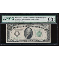 1934C $10 Minneapolis Wide Federal Reserve Note PMG 63EPQ
