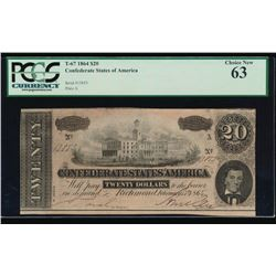 1864 $20 Confederate States of America Note PCGS 63