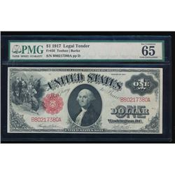 1917 $1 Large Legal Tender Note PMG 65