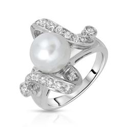 14KT White Gold 5.35ct Pearl and Diamond Ring