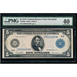 1914 $5 Large Cleveland Federal Reserve Note PMG 40