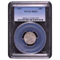 1915 Barber Dime PCGS MS61