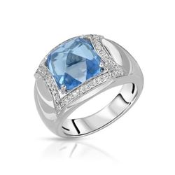 14KT White Gold 7.84ct Blue Topaz and Diamond Ring