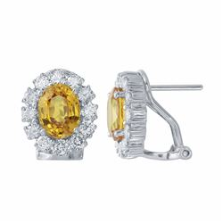 14KT White Gold 3.26ctw Yellow Sapphire and Diamond Earrings