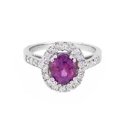 18KT White Gold 1.65ct GIA Cert Pink Sapphire and Diamond Ring
