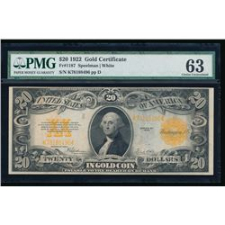 1922 $20 Large Gold Certificate PMG 63