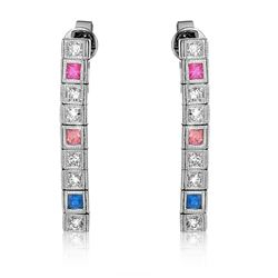 14KT White Gold 0.60ctw Multi Color Sapphire and Diamond Earrings