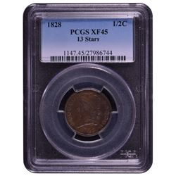 1828 Capped Bust Half Cent PCGS XF45 13 Stars