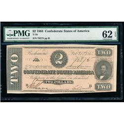 1864 $2 Confederate States of America Note PMG 62EPQ
