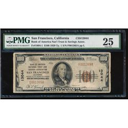 1929 $100 San Francisco National Bank Note PMG 25