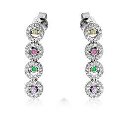 18KT White Gold 0.12ctw Multi Color Sapphire and Diamond Earrings