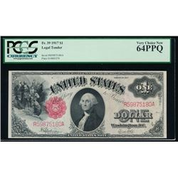 1917 $1 Large Legal Tender Note PCGS 64PPQ