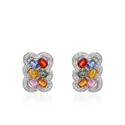 14KT White Gold 6.82ctw Multi Color Sapphire and Diamond Earrings