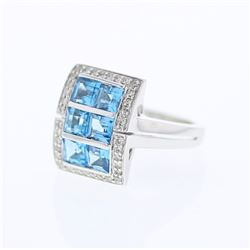 14KT White Gold 2.54ctw Blue Topaz and Diamond Ring