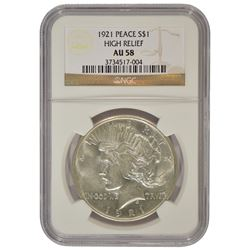 1921 $1 Peace High Relief Silver Dollar Coin NGC AU58