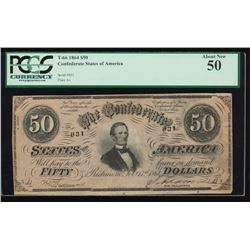 1864 $50 Confederate States of America Note PCGS 50