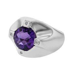 14KT White Gold 4.69ct Amethyst and Diamond Ring
