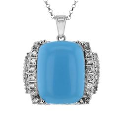 14KT White Gold 11.69ct Turquoise and Diamond Pendant with Chain