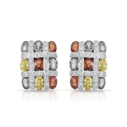 14KT White Gold 11.03ctw Multi Color Sapphire and Diamond Earrings